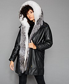 Fox & Rabbit-Fur-Trim Hooded Leather Coat