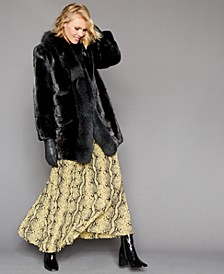 Mink-Fur Fox-Trim Coat