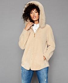Shearling Lamb Fox-Fur-Trim Hooded Jacket