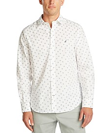 Men's Blue Sail Navtech Wrinkle-Resistant Print Shirt, Created For Macy's