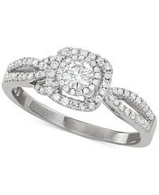 Diamond Double Halo Openwork Engagement Ring (5/8 ct. t.w.) in 14k White Gold