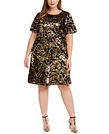 INC Plus Size Two-Tone Sequin Dress, Created For Macy's