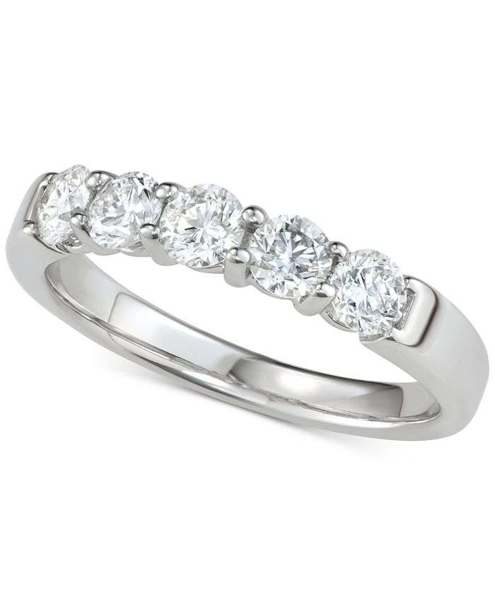 Macy's - Diamond Five-Stone Band (1 ct. t.w.) in 14k White Gold
