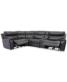 Hutchenson 5-Pc. Leather Sectional with 2 Power Recliners, Power Headrests and Console
