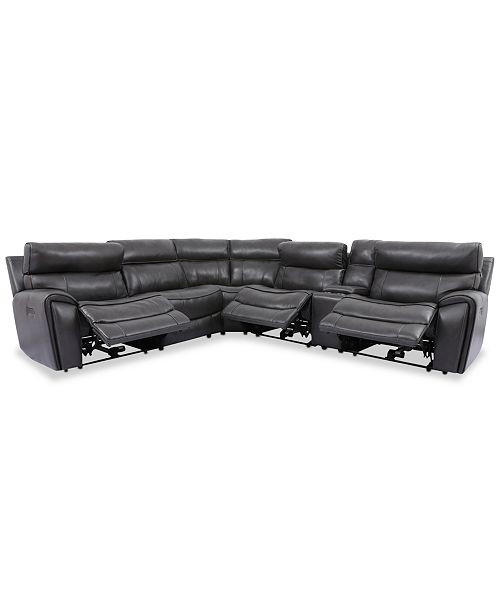 Furniture Hutchenson 6-Pc. Leather Sectional with 3 Power Recliners, Power Headrests and Console with USB