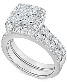 Diamond Princess Halo Bridal Set (3 ct. t.w.) in 14k White Gold