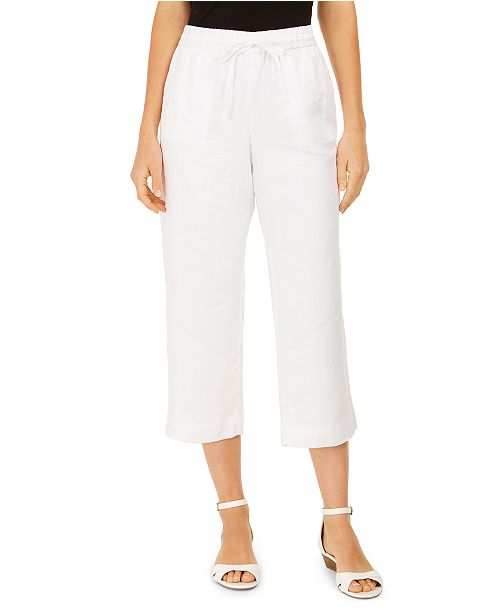 Charter Club Linen Cropped Tie-Waist Pants, Created for Macy's