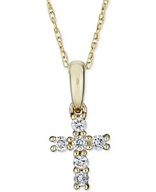 "Diamond Cross Pendant Necklace (1/8 ct. t.w.) in 14k Gold, 16"" + 2"" extender"
