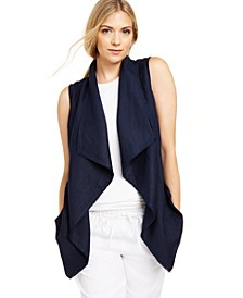 Frayed-Trim Linen-Blend Draped Vest, Created for Macy's