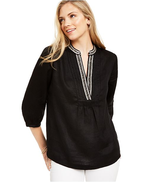Charter Club Embellished-Neck Tunic, Created For Macy's
