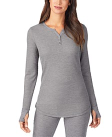Women's Stretch Thermal Long-Sleeve Split-Neck Top