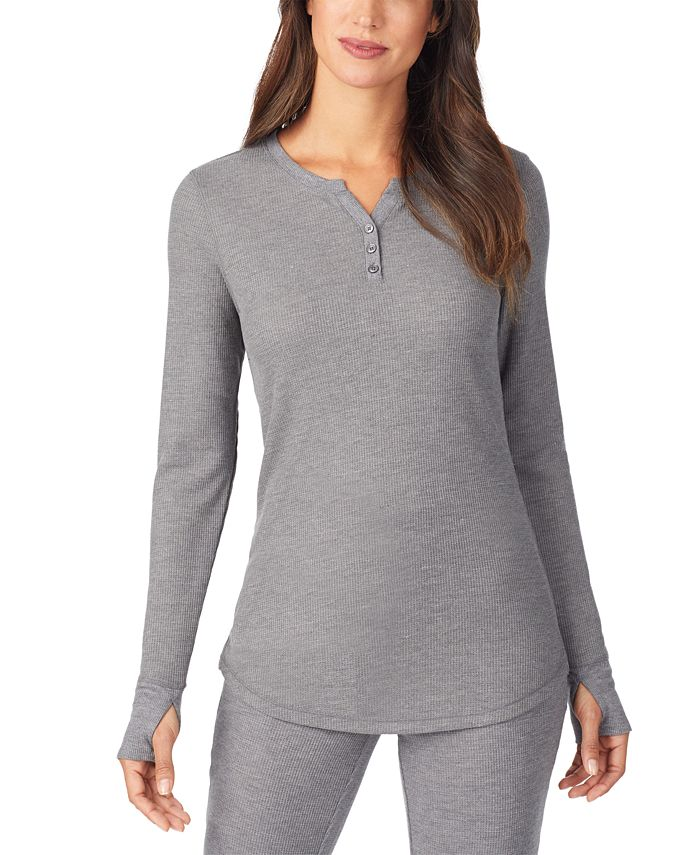 Cuddl Duds - Women's Stretch Thermal Long-Sleeve Split-Neck Top