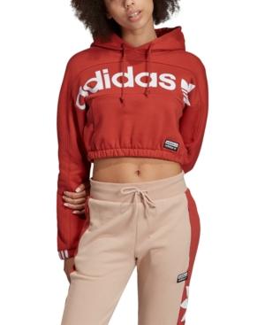 Adidas Originals Tops ADIDAS ORIGINALS COTTON LOGO CROPPED HOODIE