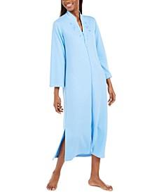 Quilt-In Knit Long Zipper Robe