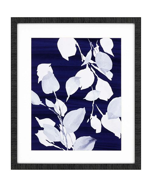 """Paragon Simple Leaves on Navy Framed Wall Art, 26"""" x 22"""""""