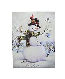 LED Lighted Snowman and Bird Friends Christmas Canvas Wall Art