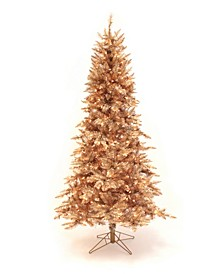 Pre-Lit Rose Gold Slim Christmas Tree with LED Lights Collection
