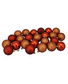 "24ct Burnt Orange Shatterproof 4-Finish Christmas Ball Ornaments 2.5"" 60mm"