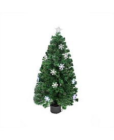 Pre-Lit Color Changing Fiber Optic Christmas Tree with Snowflakes