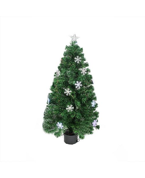 Northlight 3' Pre-Lit Color Changing Fiber Optic Christmas Tree with Snowflakes
