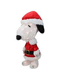 "24"" Pre-Lit Peanuts Snoopy in Santa Suit Christmas Outdoor Decoration - Clear Lights"