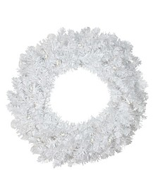 """24"""" Pre-Lit  LED White Pine Artificial Christmas Wreath - Clear Lights"""