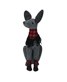 """14.5"""" Gray and Red Sitting Dog with Plaid Collar Christmas Decoration"""