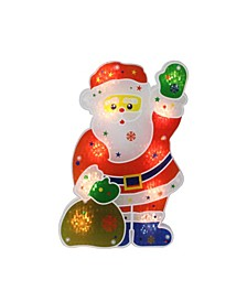 """13"""" Lighted Holographic Santa Claus Christmas Window Silhouette Decoration"""