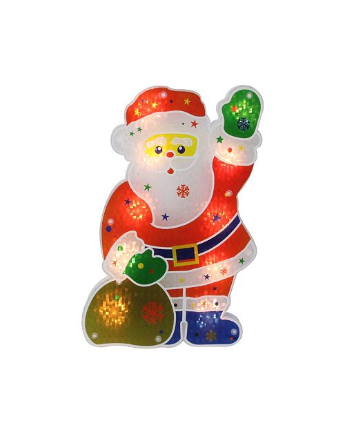 """Northlight 13"""" Lighted Holographic Santa Claus Christmas Window Silhouette Decoration"""