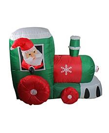 4.5' Inflatable Santa on Locomotive Train Lighted Outdoor Christmas Decoration