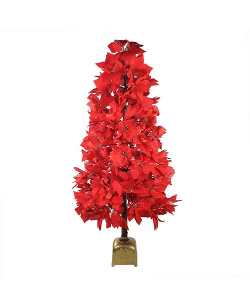 4\' Pre-Lit Fiber Optic Color Changing Red Poinsettia ...