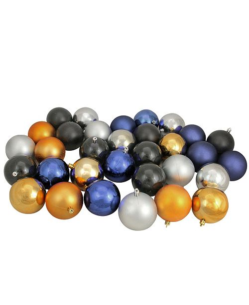 """Northlight 32ct Sapphire Blue/Black/Antique Gold/Pewter Shatterproof Christmas Ball Ornaments 3.25"""""""