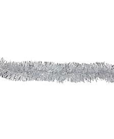 12' Shiny Silver and Snowblush Christmas Tinsel Garland - Unlit