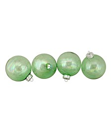 "4ct Shiny Green Clear Iridescent Christmas Ball Ornaments 3.25"" 80mm"