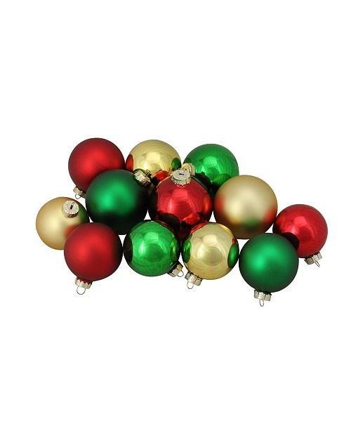 Northlight 72ct Red Silver and White Shiny and Matte Glass Ball Christmas Ornaments 3.25-4""