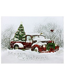 LED Fiber Optic Truck and Tree Christmas Canvas Wall Art