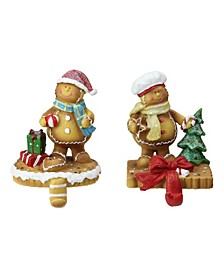 Set of 2 Glittered Gingerbread Christmas Stocking Holders 5.25""