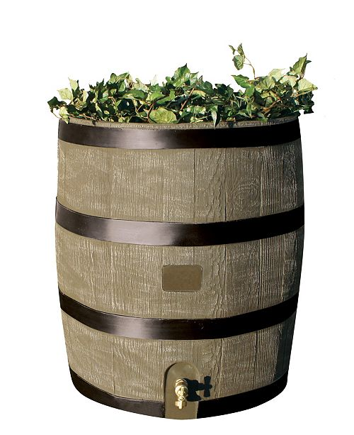 RTS Home Accents Round Rain Barrel with Planter