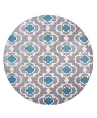 "Alba Alb310 Blue/Gray 6'6"" Round Area Rug"