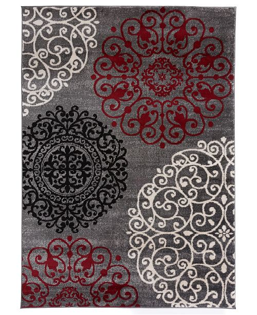 "Main Street Rugs Home Alba Alb303 Red 3'3"" x 5' Area Rug"