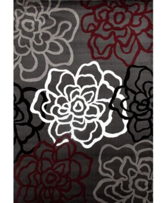 """Montane Mon108 Red/Gray 6'6"""" x 9' Area Rug"""