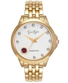 Jessica Simpson Women's Genuine Garnet and White Topaz Gold Tone Bracelet Watch 38mm