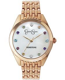 Women's Genuine Gemstone Rose Gold Tone Bracelet Watch 37mm