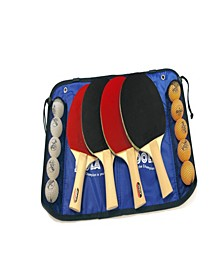 Family Table Tennis Set Includes 4 Spirit Rackets, 10 Balls Carrying Case