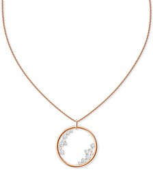 "Rose Gold-Tone Crystal Circle 31"" Adjustable Pendant Necklace"