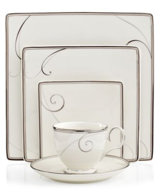 Dinnerware, Platinum Wave Square 5 Piece Place Setting