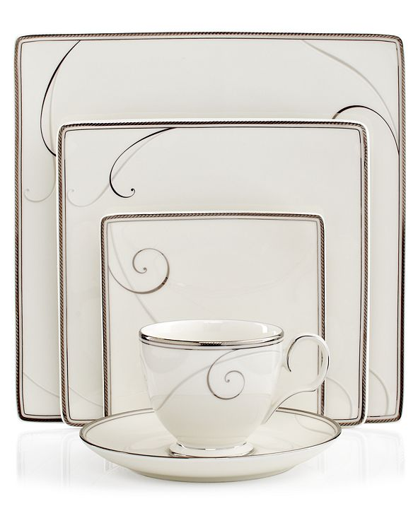 Noritake Dinnerware, Platinum Wave Square 5 Piece Place Setting