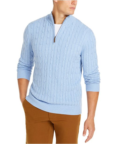 Club Room Men's Pima Cable Quarter-Zip Sweater, Created for Macy's