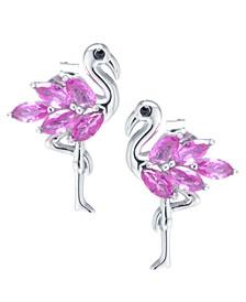 Pink Cubic Zirconia Flamingo Earrings in Sterling Silver