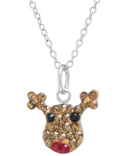 "Macy's Pave Crystal Reindeer Pendant with 18"" Chain set in Sterling Silver"